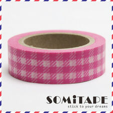 Bright Pink Check Gingham Pattern Washi Tape, Craft Decorative Tape