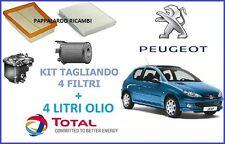 KIT TAGLIANDO 4 FILTRI + OLIO TOTAL PEUGEOT 206 1.4 HDI 50 KW 68CV CITROEN C2 C3