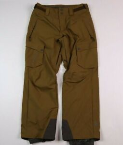 Salomon Mens Large Clima Pro Snow Ski Pants Cargo Brown Nylon