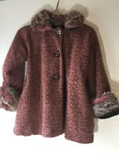 Corky & Company Toddler Girls 4T 3-Button Coat Faux Fur Trim Pink Fleece Lined
