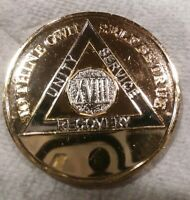 18 YEAR AA GOLD/SILVER Tone Bi-Plated Alcoholics Anonymous CHIP COIN MEDALLION