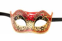Maschera Di Venezia Columbine Burlesque Rosso E Dorata Per Ballo 953 V4B
