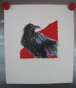 "Anne Belov ""Quoth The Raven"" #3/40 Litlhograph  Birds Wildlife Black White Red"