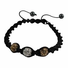 Gold & White 6mm Crystal Balls on Black Macrame Cord Shamballa Inspired Bracelet
