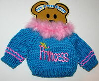 Princess Theme Plush Teddy Bear Knit Sweater Outfit fits 11-13 inch New