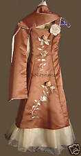 NEW PAGEANT/FLOWER GIRL Embroidery DRESS Brown 2-sided Shawl Sz 12 Party