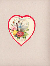 Vintage 1940s Diecut Valentine Heart Shape Little Girl Hanging  Picture Portrait