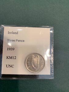 Ireland 3 Pence 1939 Unc