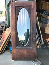 An552 Antique Victorian Oval Beveled glass gingerbread entrance door 35 7/8 x 84
