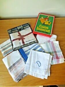 Job Lot of 11 Vintage Men's Handkerchiefs 100% Cotton Some in Packets
