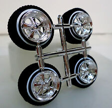 Hoppin Hydros 1/24 scale Lowrider OG BLVD CHROME Wheel Rim with Low Pro WW Tires