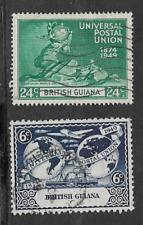 BRITISH GUIANA - KGV1 ERA 2 USED COMMEMORATIVE STAMPS 1949 ANNIVERSARY UPU