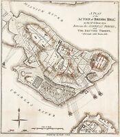 Breeds Hill (Bunker Hill) Action Battle Map 6/17/1775   24 x 21 inch Art Print
