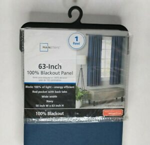 Mainstays 63 Inch 100% Blackout Curtain Panel Navy New