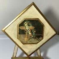 Vintage Gold Gilt Italian Florentine Tole Wood Wall Picture Plaque Floral