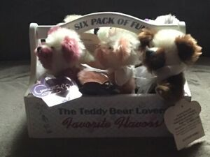 """Annette Funicello Beary 'Licious Collection of Six 6"""" Mohair bears w/ Carrier"""