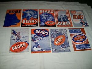 Lot of 9 Vintage Chicago Bears Media Guides from the 1950's 1951 1952 1953 1954