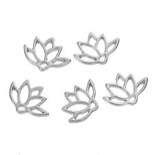 10 Small Silver LOTUS FLOWER Charm Pendants, 15x11mm, chs2669