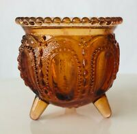 Degenhart Art Glass Amber Gypsy Witch's Pot Cauldron 3-footed Toothpick Holder