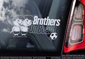 BROTHERS on Board, Car Window Sticker Kids Cartoon Decal Sign Gift Idea - V01