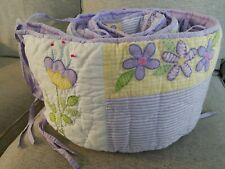 Pottery Barn Kids Flower Patches Crib Bumper purple pink butterfly pastels nice!