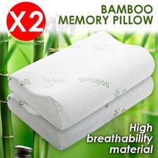 2x Luxury Bamboo Pillow Anti Bacterial Memory Foam Fabric Cover 50 X 30CM
