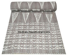 Vintage Hand Block Indian Kantha Queen Size Quilt Bed Cover Cotton Bedspread ;
