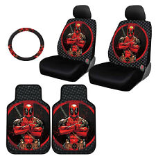 FOR BMW NEW DEADPOOL CAR SEAT COVERS FLOOR MAT STEERING WHEEL COVER SET