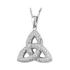 14k White Gold Genuine Diamond .31ct Trinity Knot Celtic Pendant Necklace s44501