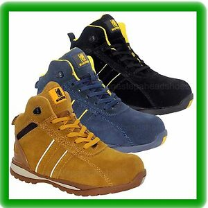 MENS HI TOP SUEDE SAFETY STEEL TOE CAP WORK  TRAINER SHOE ANKLE  BOOTS SIZE