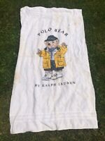 Vintage Polo Ralph Lauren Bear Beach Towel Raincoat Yellow 90's Large Terry Prep