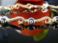 Hübscher 925 Silber Armreif Schutz Talisman Böser Blick Tolles Design Blau Top