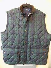 NWT Polo Ralph Lauren BLUE PLAID quilted Vest Corduroy Collar Sz 2XLT Big & Tall