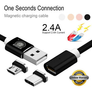 3FT Real 2.4A Magnetic Fast Data Charger Cable Line For Type C Micro USB Android