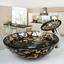 RE Round bowl bathroom wash glass basin sink combo waterfall brass taps faucet