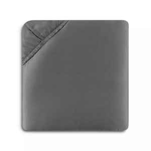 $380 SFERRA GIOTTO COTTON SATEEN QUEEN FITTED SHEET TITANIUM CHARCOAL GRAY ITALY