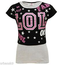 Girls Black & Grey Double Layered 2 Tops in 1 Sizes / Ages 7 8 9 10 13