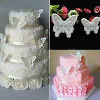 2Pcs/Set Butterfly Cake Fondant Sugarcraft Mould Cookie Plunger Cutter Mold New.