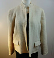 Vtg Off White Mohair Wool Blend Blazer Jacket Size 14 Made in England