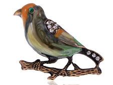 Bird Costume Jewelry Pin Brooch Vintage Repro Crystal Rhinestone Enamel Sparrow