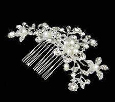 "FREE SHIP Bride Comb Rhinestone Crystal Pearl Bridal Hair Barrette 4.2"" Wedding"