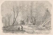 C1123 Villaggio Russo ai bordi del Volga - Xilografia d'epoca - 1867 engraving
