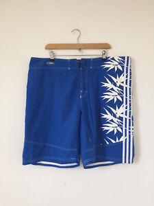 Adidas Blue White Board Shorts Swimming Shorts Drawstring Size XL