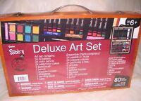 DARICE STUDIO 71 80 PIECE DELUXE ART SET in wooden box, new in shrink wrap