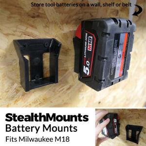 5x BATTERY MOUNTS for MILWAUKEE M18 18v Storage Holder Shelf Rack Stand Slots