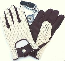 MENS  CHAUFFEUR CLASSIC VINTAGE FASHION TAN SOFT GENUINE CROCHET LEATHER GLOVES