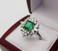 750 Weißgold Ring mit Diamanten/Brillanten Smaragd Art deco