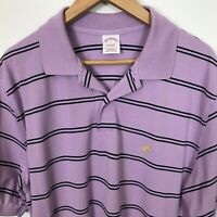 Brooks Brothers Short Sleeve L Stripe Performance Polo Cotton Purple Black Shirt