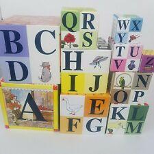 Vintage Mother Goose Nesting Building Blocks 10 Blocks Alphabet Numbers Rhymes
