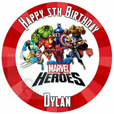 MARVEL AVENGERS SUPERHERO PERSONALISED EDIBLE ICING CAKE TOPPER 7.5 INCHES
